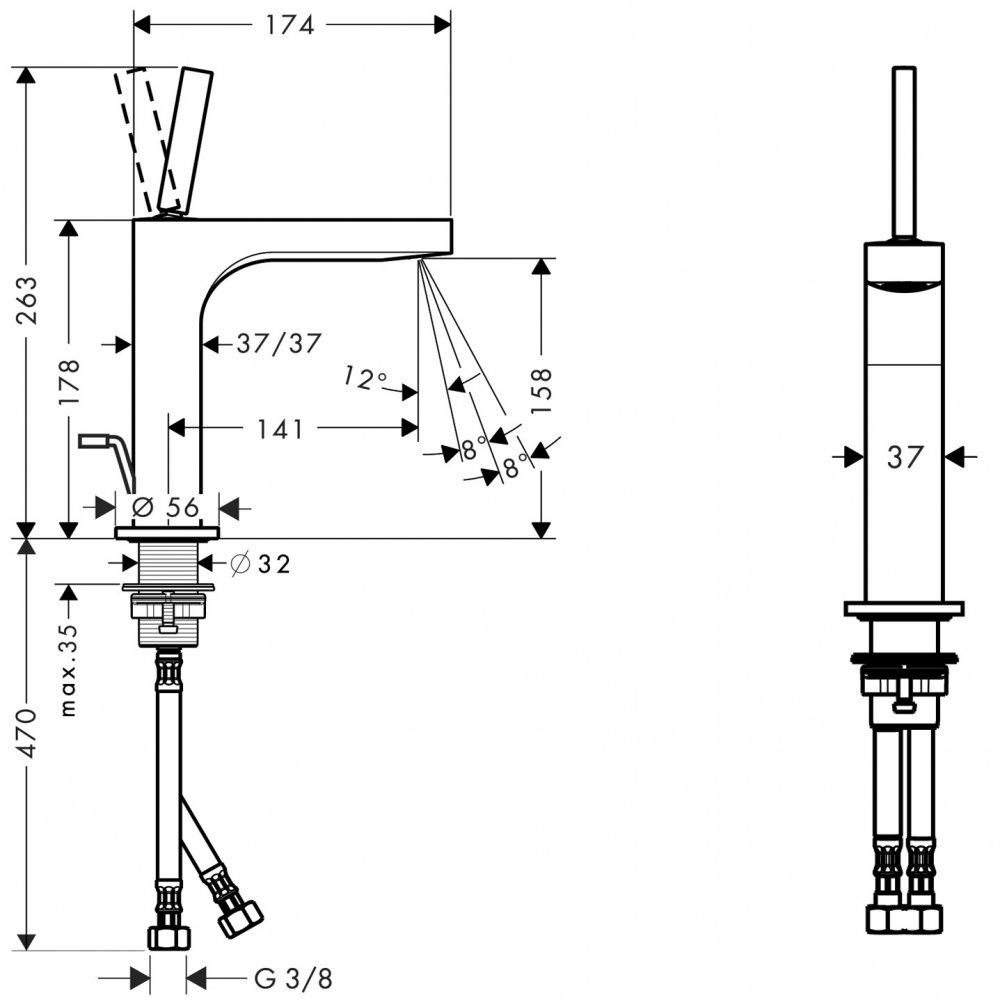 Смеситель AXOR Citterio для раковины с высотой излива 160 мм со сливным гарнитуром хром  39031000