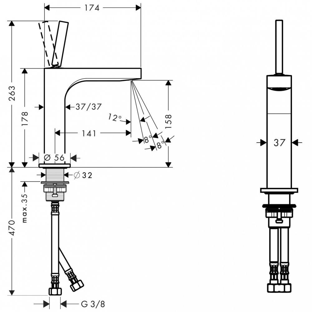 Смеситель AXOR Citterio для раковины с высотой излива 160 мм без донного клапана хром  39032000