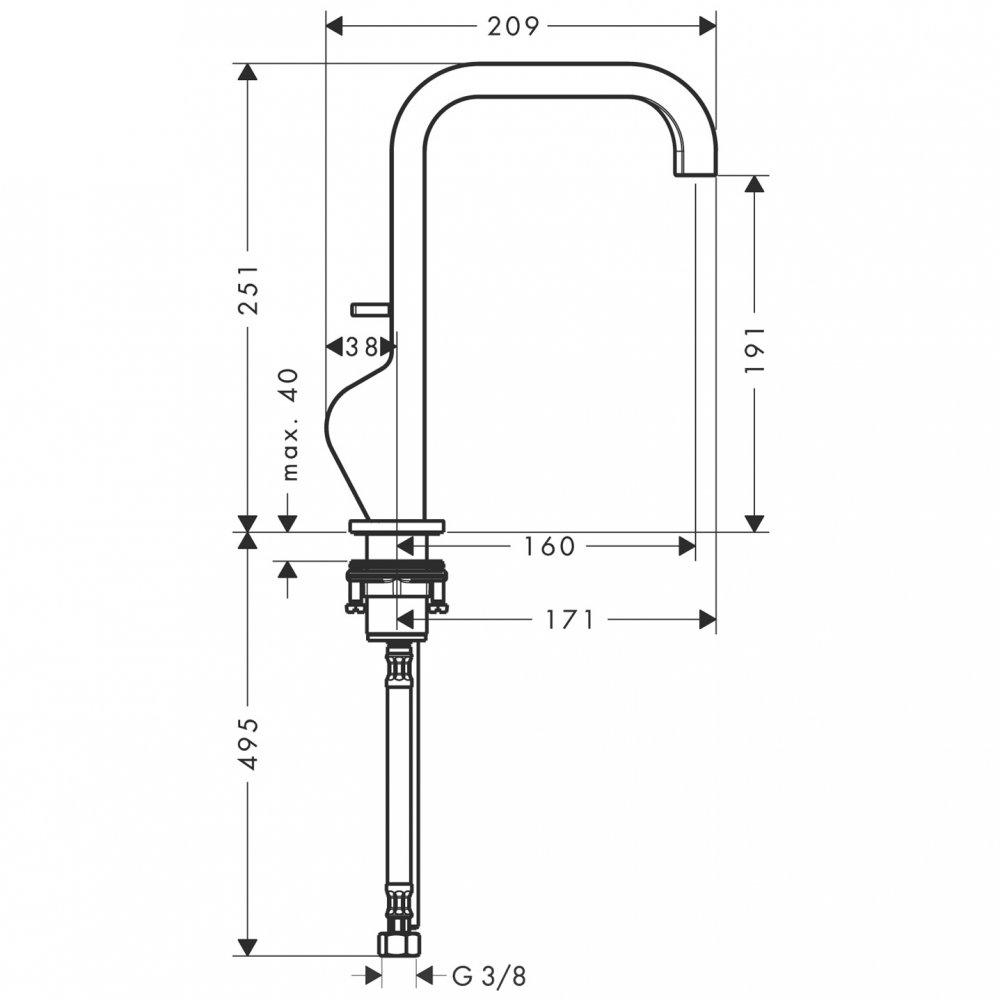 Смеситель AXOR Citterio для раковины с высотой излива 190 мм со сливным гарнитуром хром  39034000