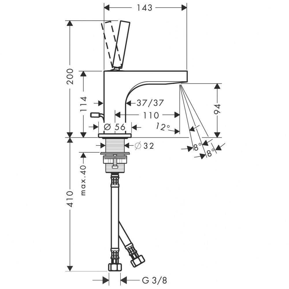 Смеситель для маленькой раковины AXOR Citterio с высотой излива 90 мм со сливным гарнитуром хром  39035000