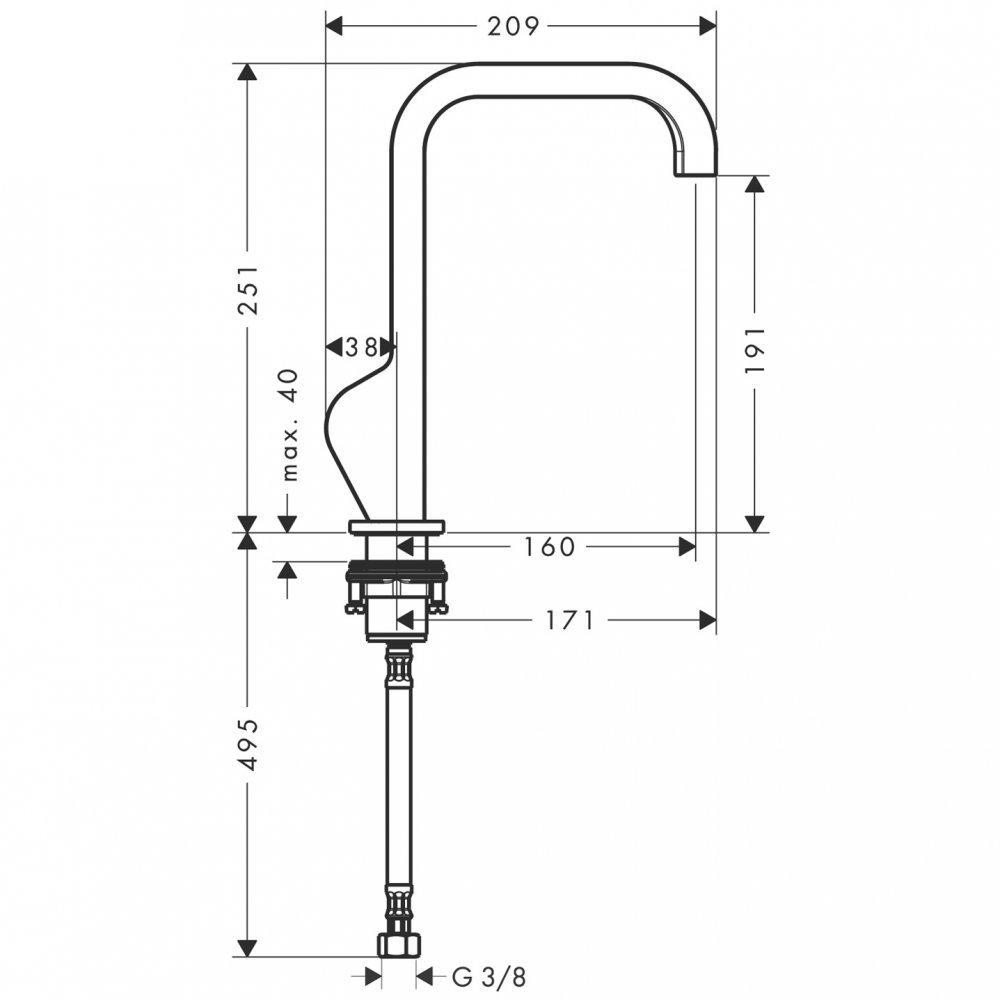 Смеситель для маленькой раковины AXOR Citterio без донного клапана хром  39037000