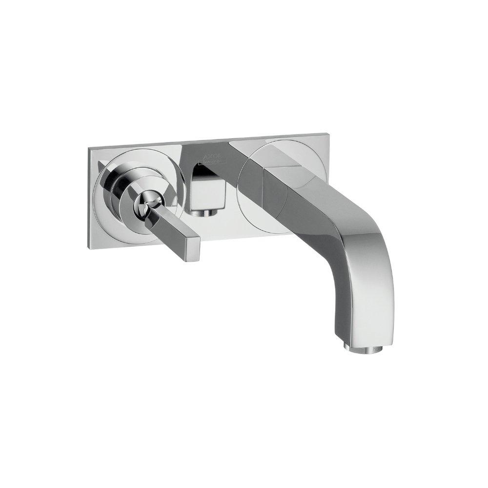 Смеситель AXOR Citterio M для раковины с панелью и изливом 167 мм с незапираемым сливным набором настенный монтаж и для скрытого монтажа хром  39112000