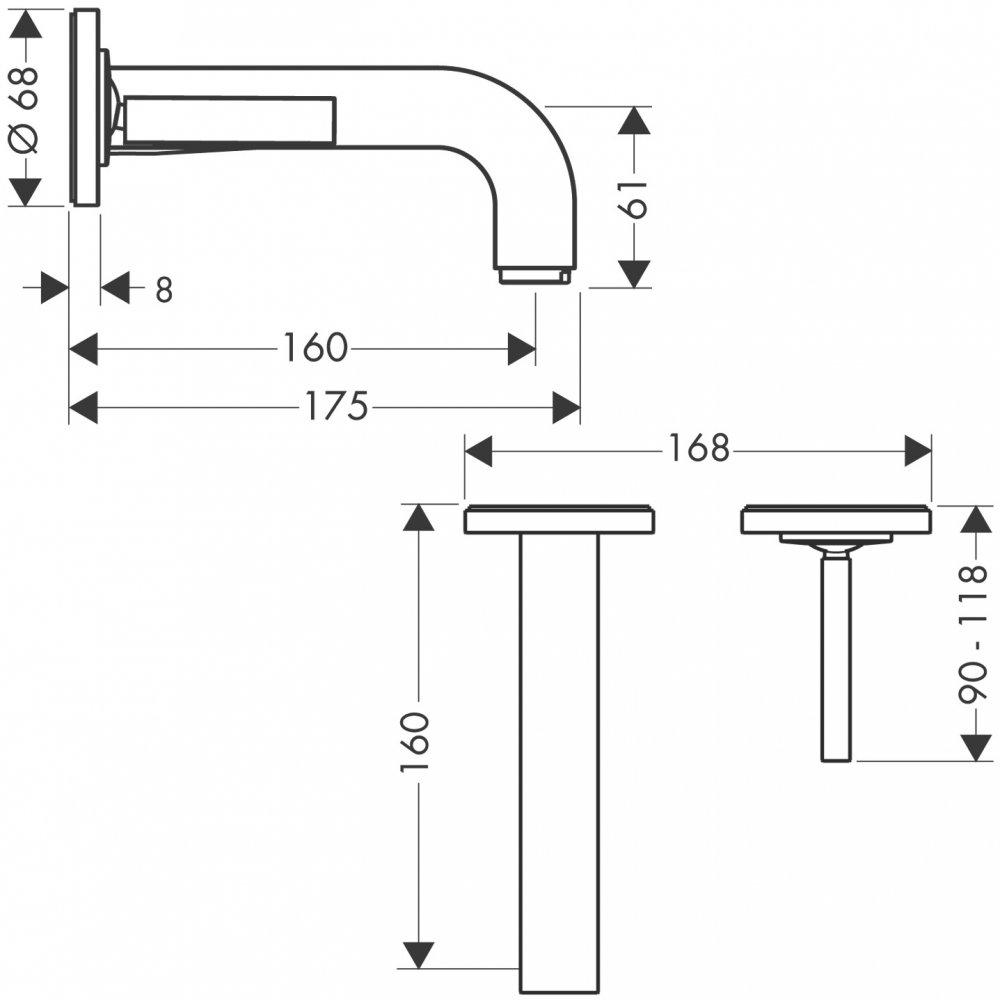 Смеситель AXOR Citterio M для раковины с розетками и изливом 167 мм с незапираемым сливным набором настенный монтаж и для скрытого монтажа хром  39113000