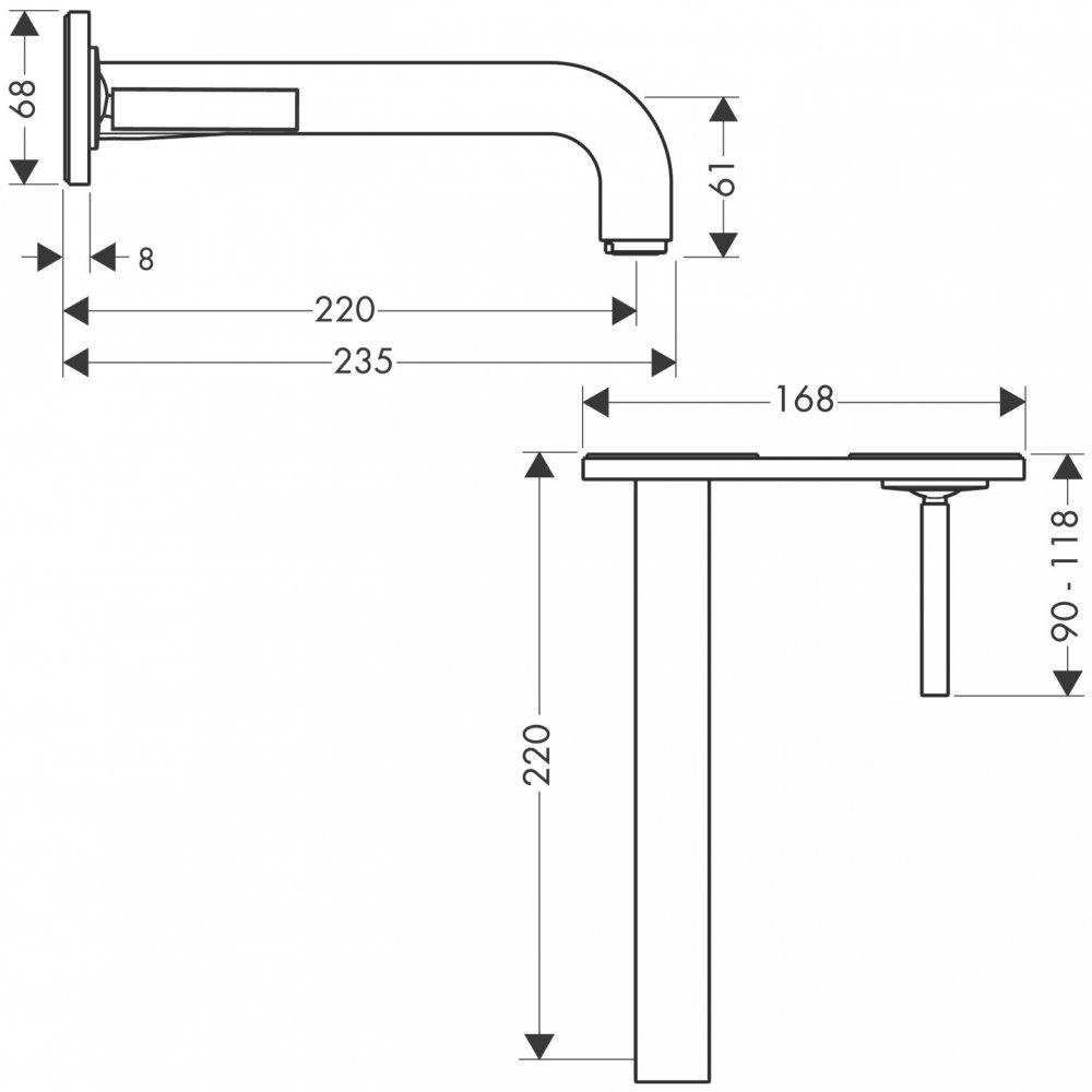 Смеситель AXOR Uno для раковины с панелью и изливом 225 мм для скрытого монтажа хром  39115000