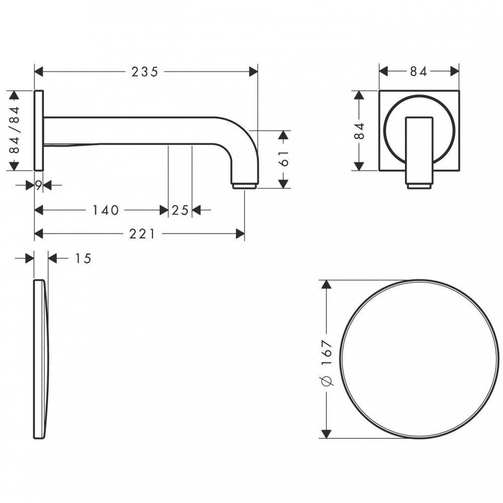 Электронный смеситель AXOR Uno излив 225 мм настенный с изливом для скрытого монтажа хром  39118000