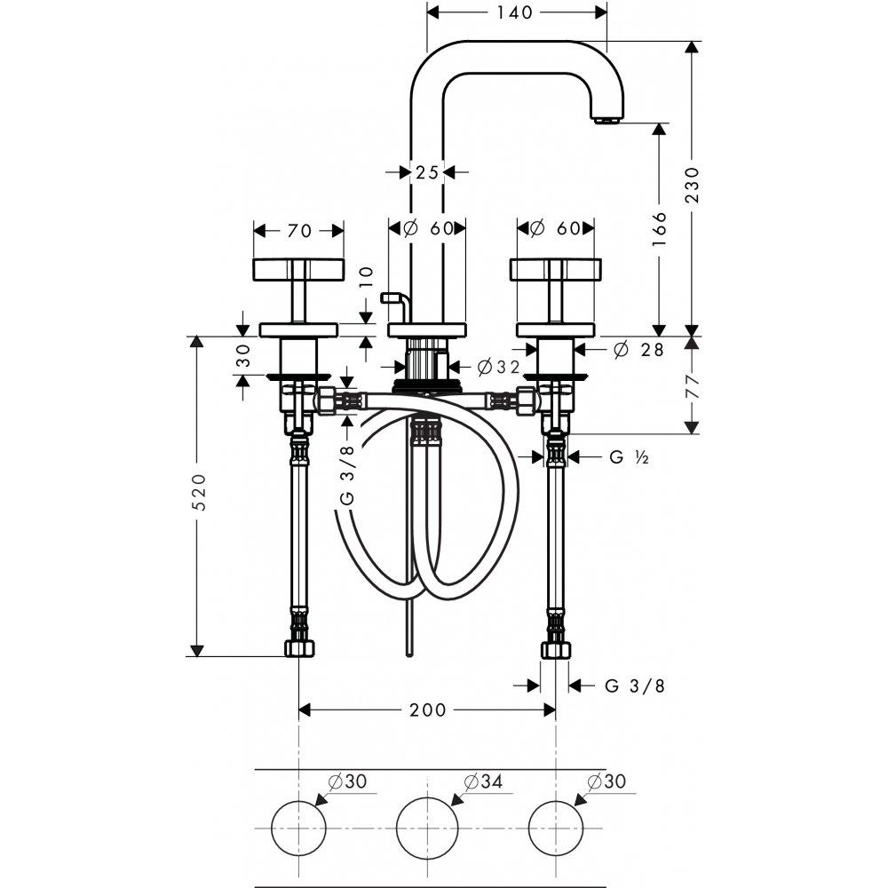 Смеситель AXOR Citterio для раковины с высотой излива 170 мм на 3 отверстия с крестовыми рукоятками и розетками со сливным гарнитуром хром  39133000