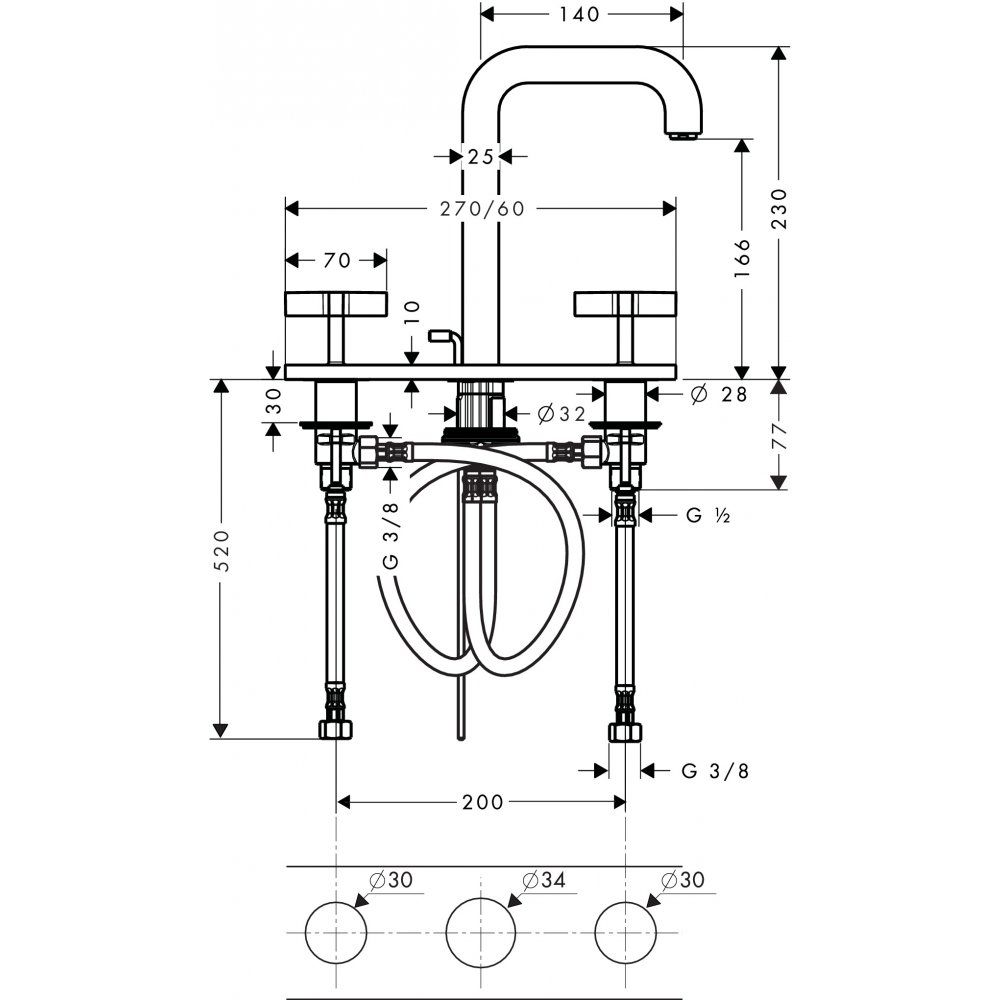 Смеситель AXOR Citterio для раковины с высотой излива 170 мм на 3 отверстия с крестовыми рукоятками и панелью со сливным гарнитуром хром  39134000