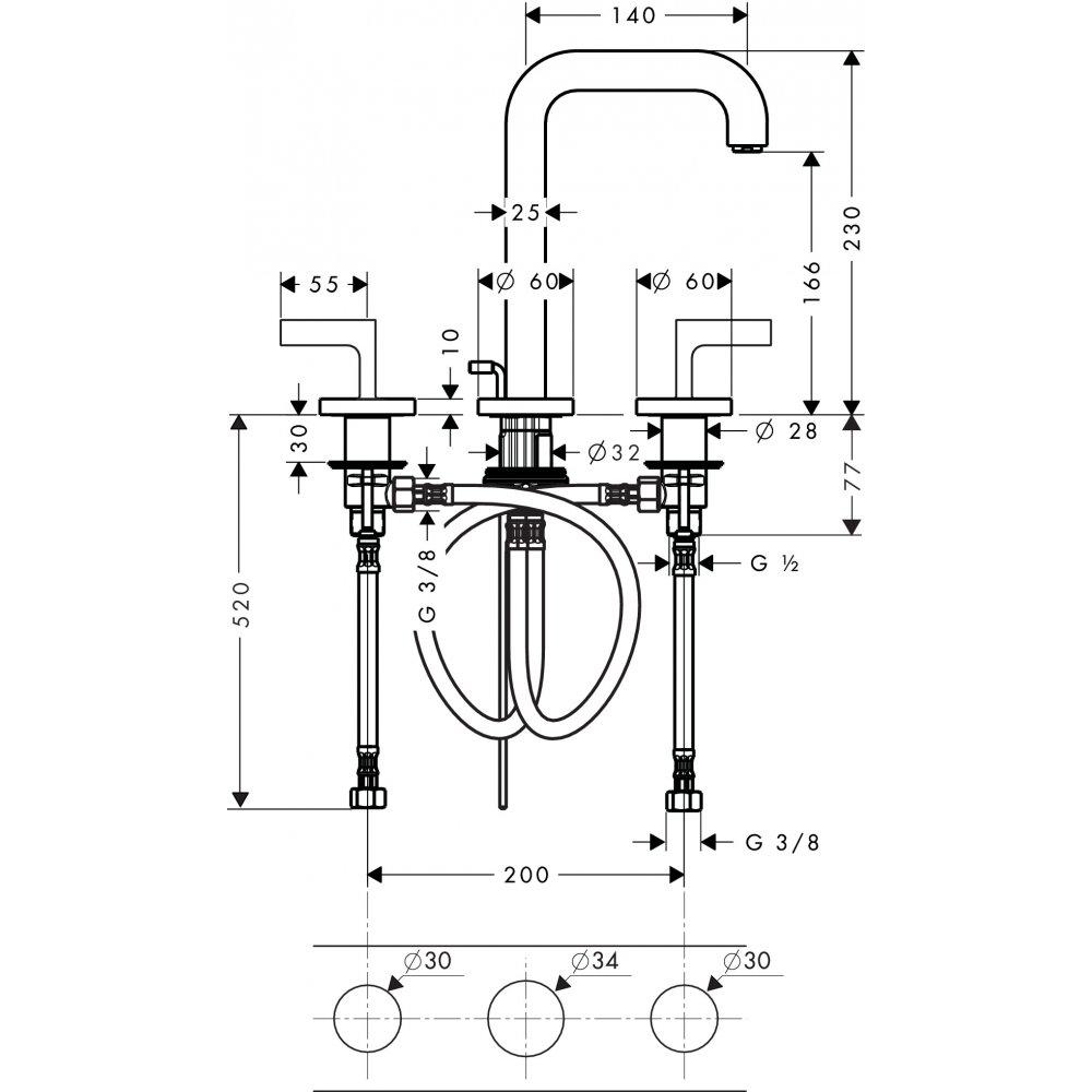 Смеситель AXOR Citterio для раковины с высотой излива 170 мм на 3 отверстия с рычаговыми рукоятками и розетками со сливным гарнитуром хром  39135000