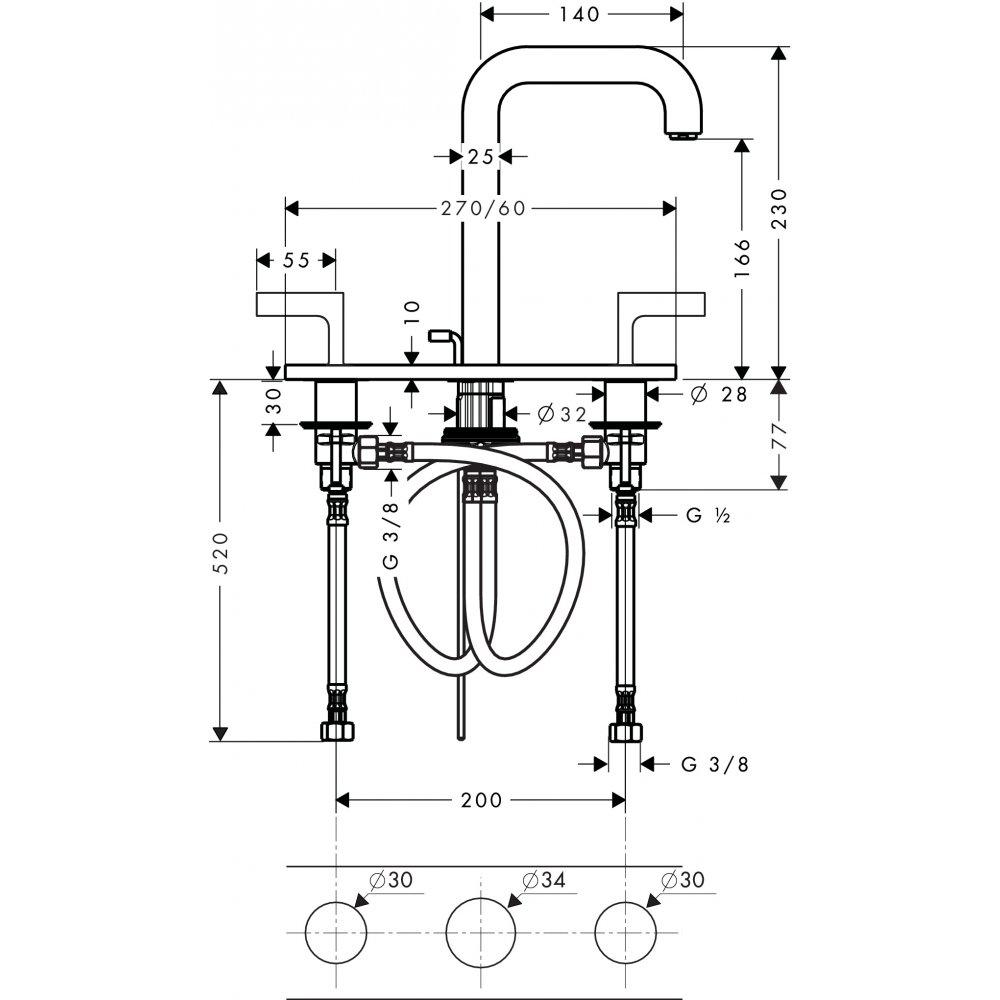 Смеситель AXOR Citterio для раковины с высотой излива 170 мм на 3 отверстия с рычаговыми рукоятками и панелью со сливным гарнитуром хром  39136000