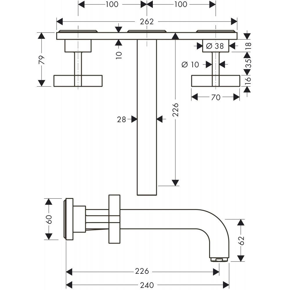 Смеситель AXOR Citterio для раковины на 3 отверстия с крестовыми рукоятками розетками и изливом 162 мм с незапираемым сливным набором настенный монтаж и для скрытого монтажа хром  39144000