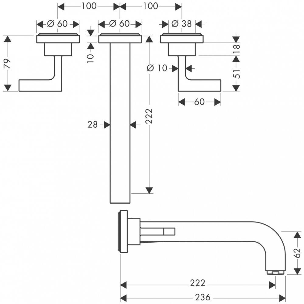Смеситель AXOR Starck для раковины на 3 отверстия со сливным гарнитуром хром  39147000