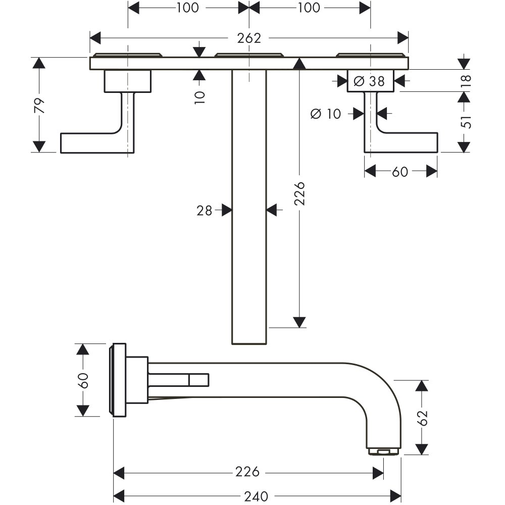 Смеситель AXOR Citterio для раковины на 3 отверстия с рычаговыми рукоятками розетками и изливом 162 мм с незапираемым сливным набором настенный монтаж и для скрытого монтажа хром  39148000
