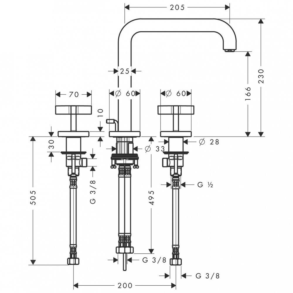 Смеситель AXOR Citterio для раковины на 3 отверстия с крестовыми рукоятками панелью и изливом 226 мм с незапираемым сливным набором настенный монтаж и для скрытого монтажа хром  39153000
