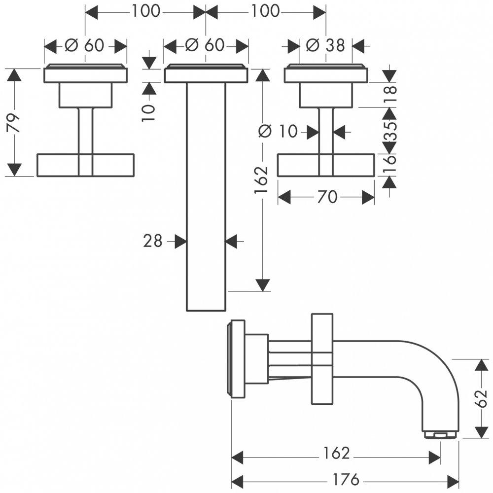 Смеситель AXOR Citterio для раковины на 3 отверстия с крестовыми рукоятками розетками и изливом 222 мм настенный монтаж и для скрытого монтажа хром  39313000