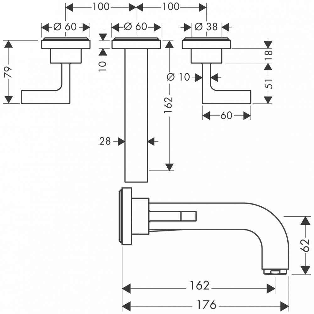 Смеситель AXOR Citterio M для раковины на 3 отверстия с рычаговыми рукоятками розетками и изливом 166 мм с незапираемым сливным набором настенный монтаж и для скрытого монтажа хром  39315000
