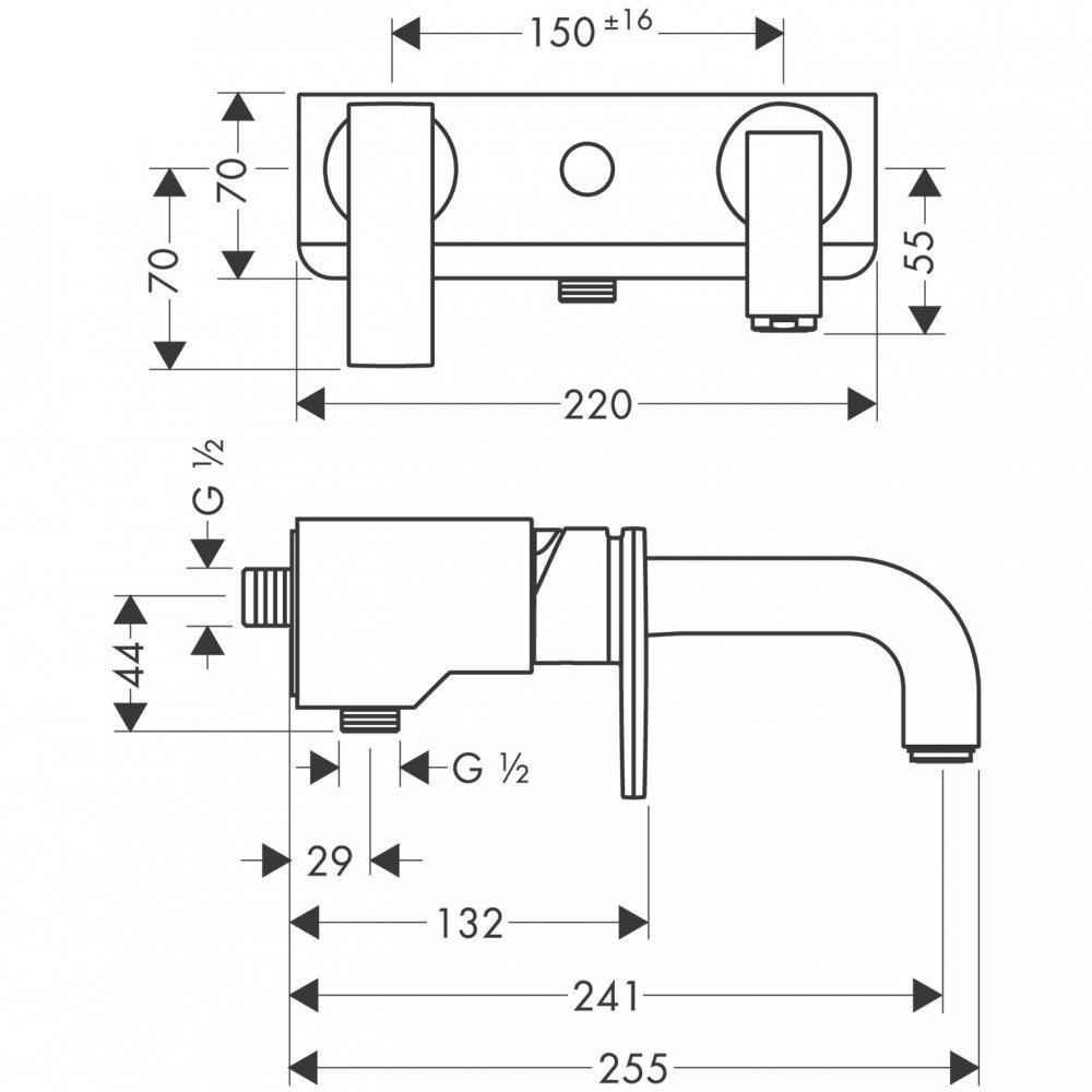 Смеситель для ванны AXOR Citterio внешнего монтажа 1/2 хром    39400000
