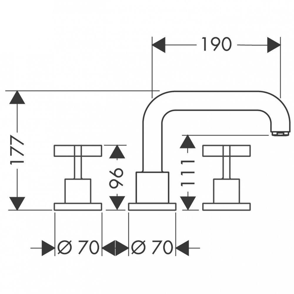 Смеситель AXOR Urquiola на край ванны на 3 отверстия с панелью 1/2  хром  39436000