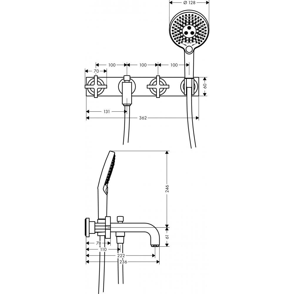 Смеситель для ванны AXOR Citterio на 3 отверстия с крестовыми рукоятками и панелью 1/2  хром  39441000