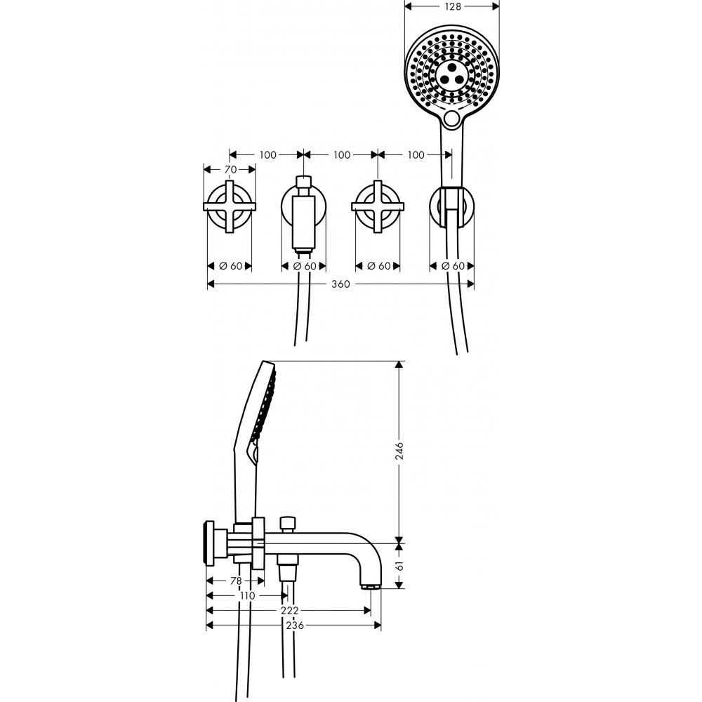 Смеситель для ванны AXOR Citterio на 3 отверстия с крестовыми рукоятками 1/2  хром  39447000