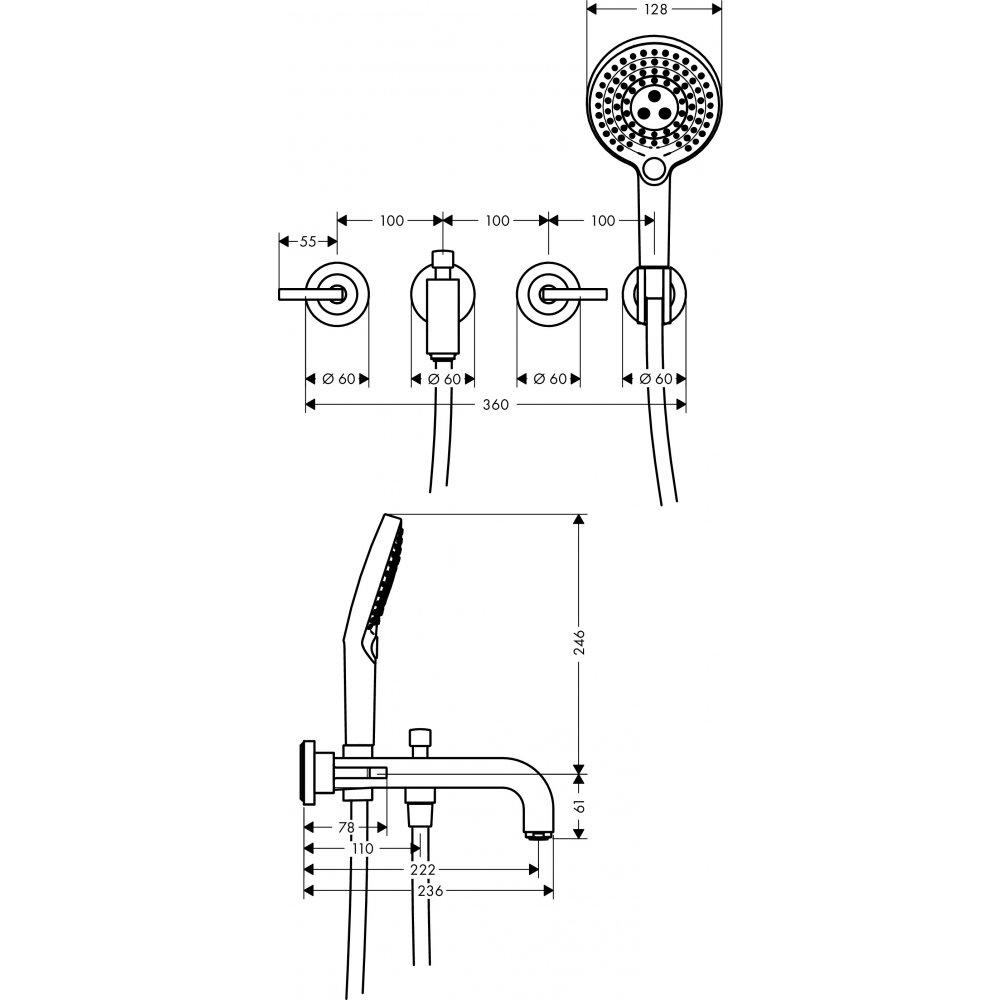 Смеситель для ванны AXOR Citterio на 3 отверстия с рычаговыми рукоятками 1/2  хром  39448000