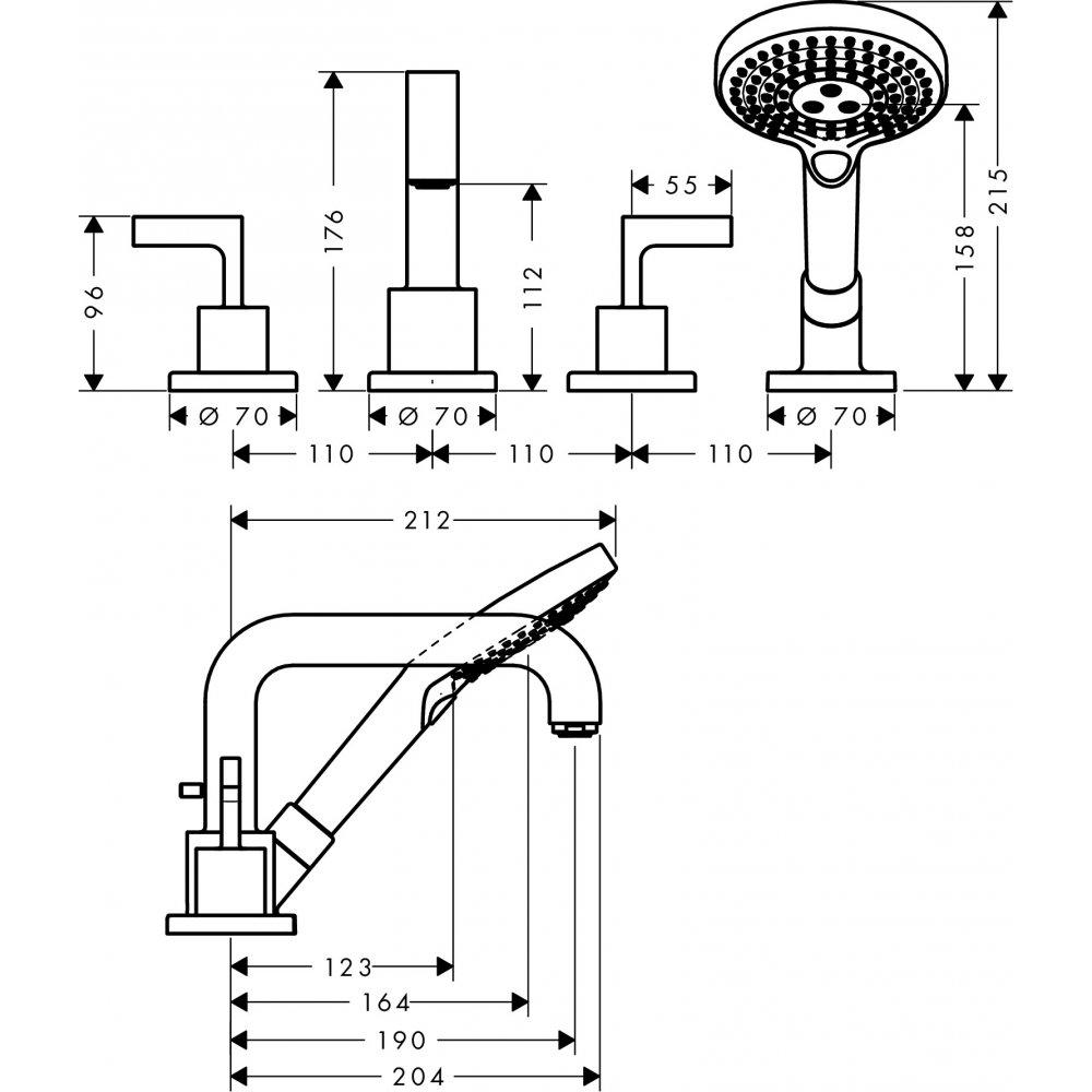 Смеситель для ванны AXOR Citterio на 4 отверстия монтаж на плитку с рычаговыми рукоятками 1/2  хром  39454000