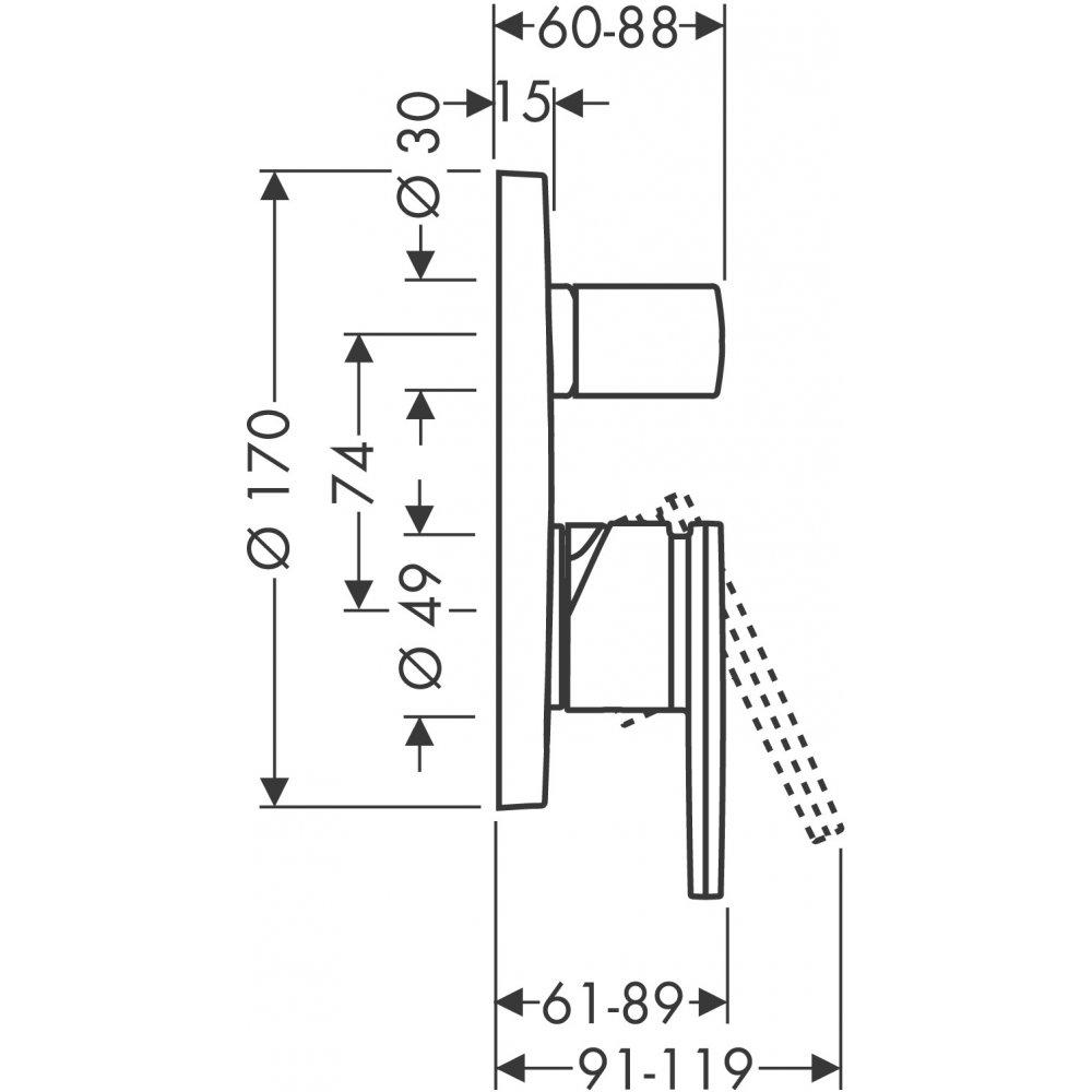 Смеситель для ванны AXOR Citterio для скрытого монтажа со встроенной защитной комбинацией хром  39457000
