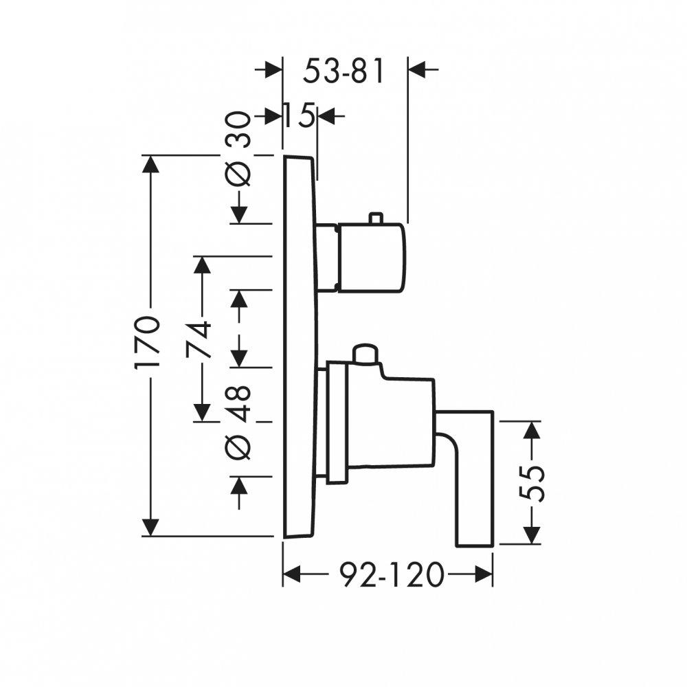 Термостат AXOR Starck с запорным вентилем для скрытого монтаж хром а  39700000