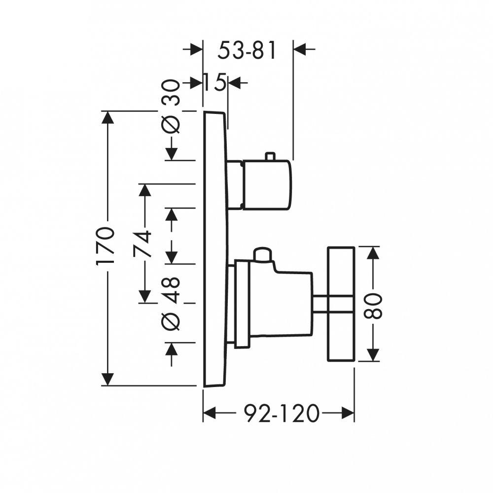 Термостат AXOR Citterio запорный вентиль переключатель потоков с рычаговой рукояткой для скрытого монтажа хром  39725000