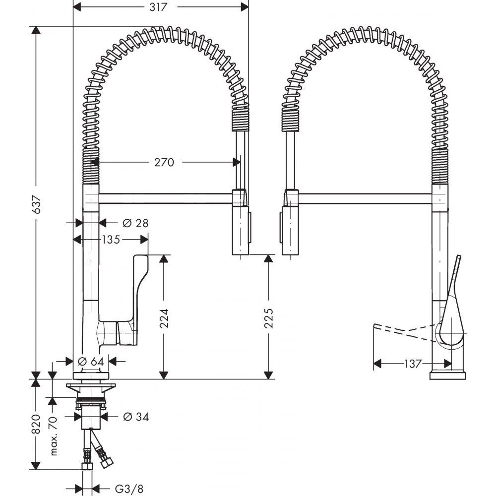 Смеситель для кухни AXOR Citterio 230 Semi Pro 1/2  нержавеющая сталь  39840800