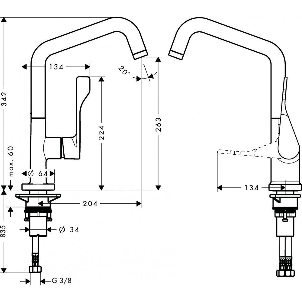 Смеситель для кухни AXOR Citterio 1/2  нержавеющая сталь  39850800