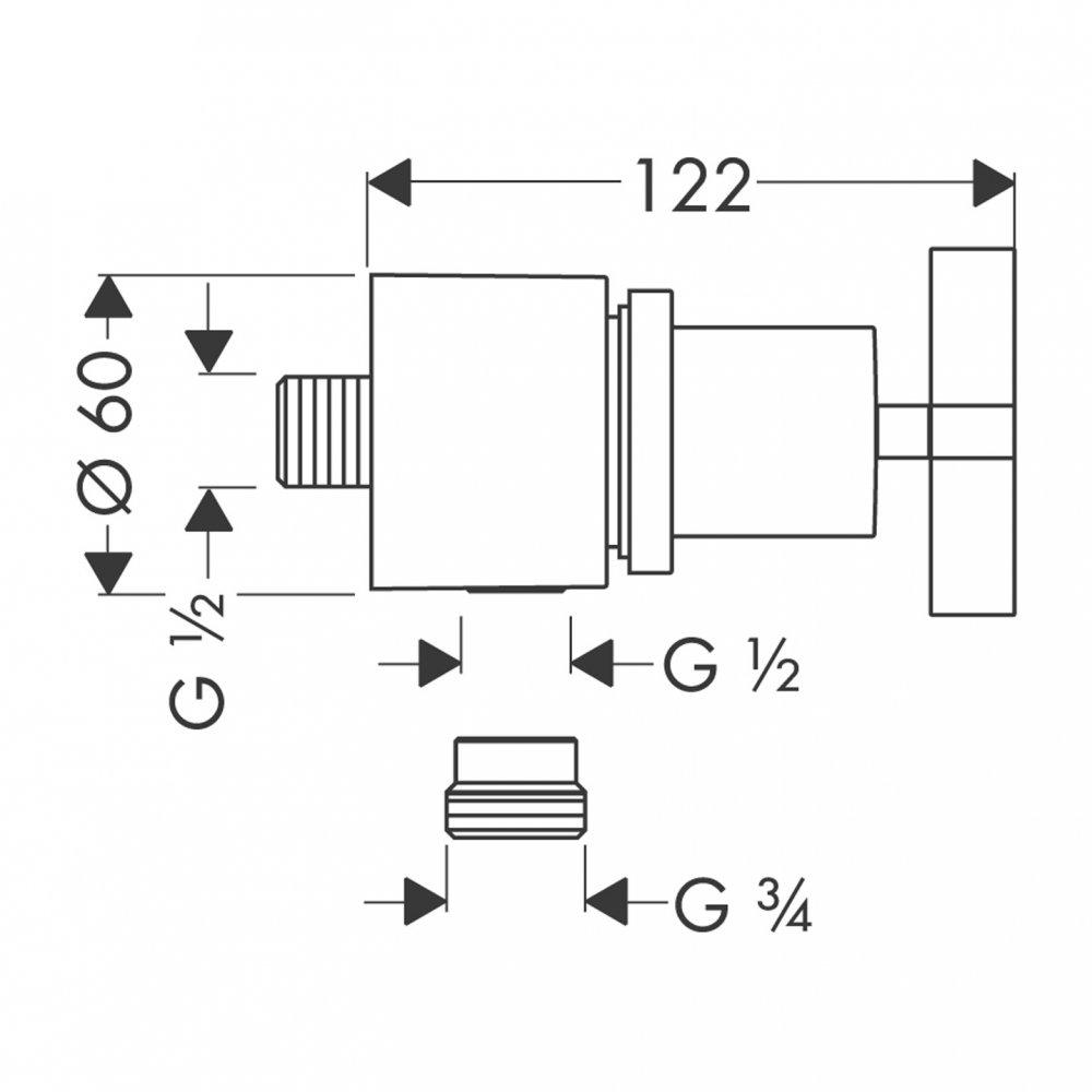 Шланговое подсоединение AXOR Montreux Fixfit Stop с рычаговой рукояткой 1/2  хром  39883000