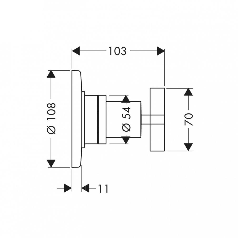 Запорный вентиль переключатель потоков AXOR Citterio Trio/Quattro с крестовой рукояткой для скрытого монтажа 3/4  хром  39925000