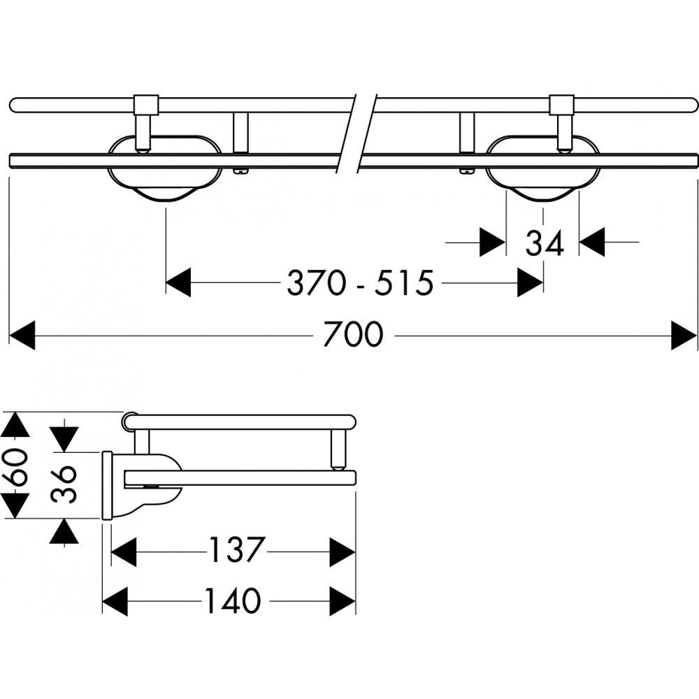 Полочка AXOR Carlton стеклянная хром  40352000