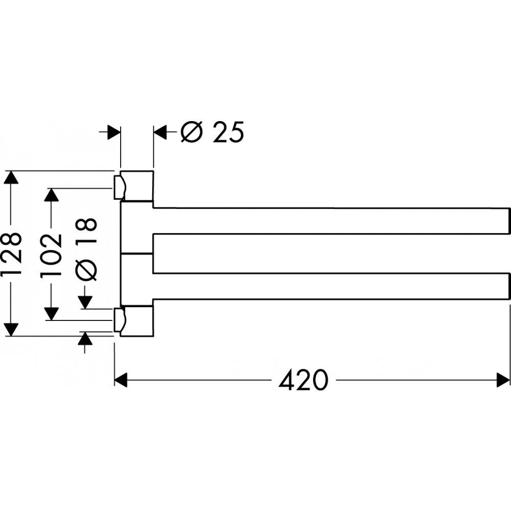 Полотенцедержатель AXOR Starck двухрожковый хром  40820000