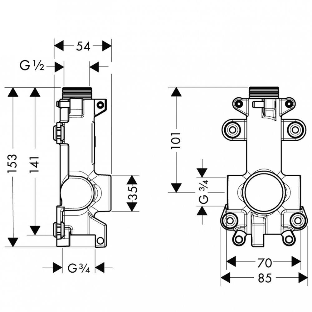 Скрытая часть AXOR ShowerSolutions для короткой полочки  40877180
