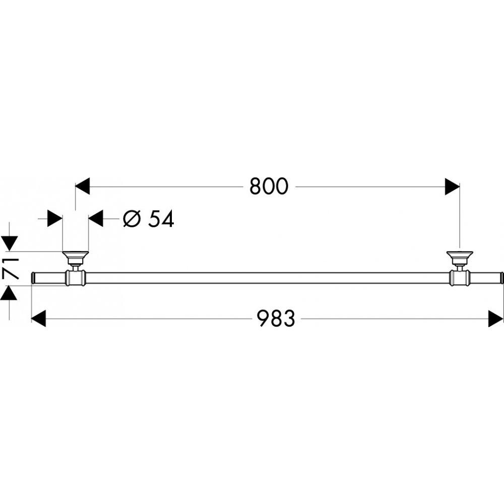 Полотенцедержатель AXOR Montreux 800 мм шлифованный никель  42080820