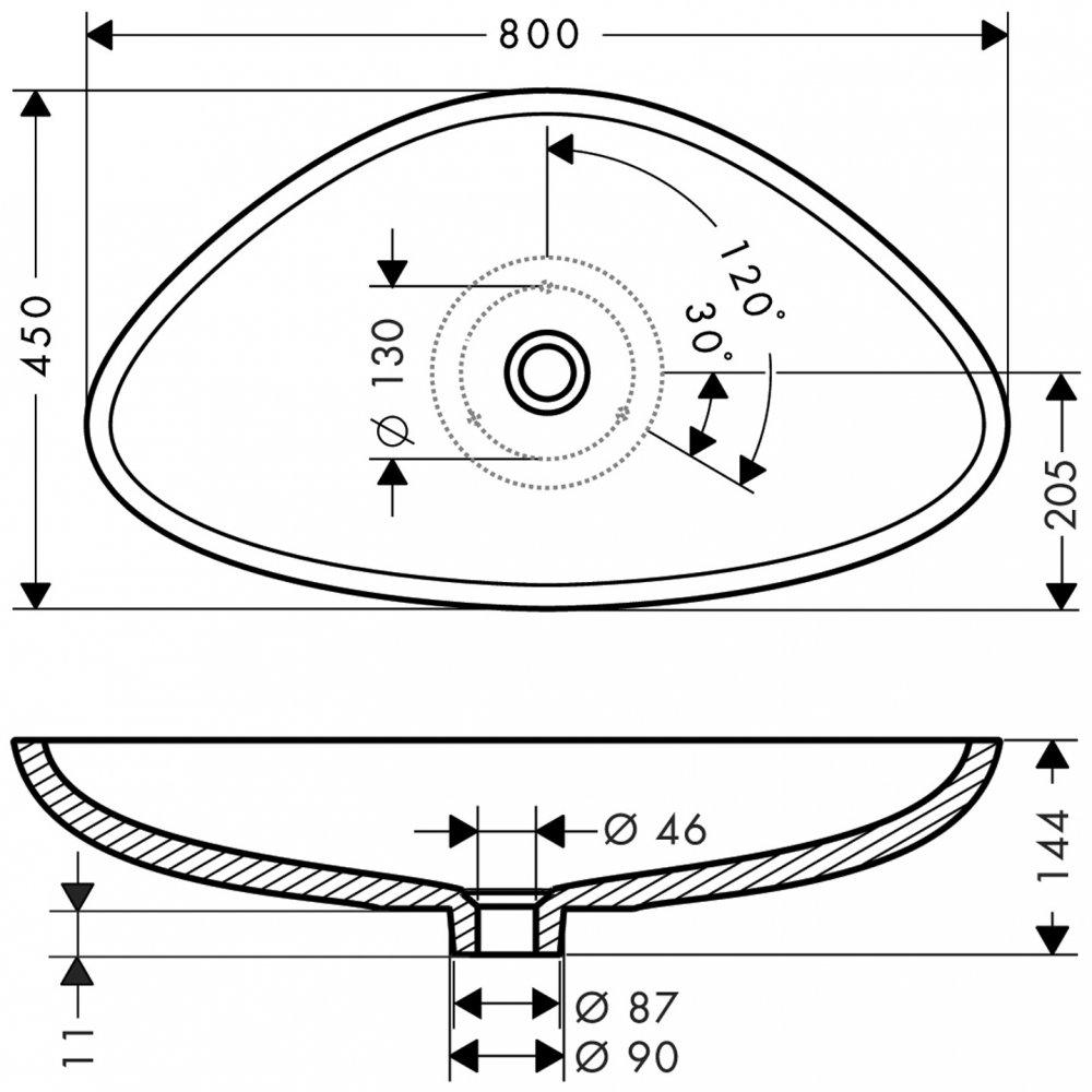 Раковина AXOR Massaud 800 мм белоснежная  42300000