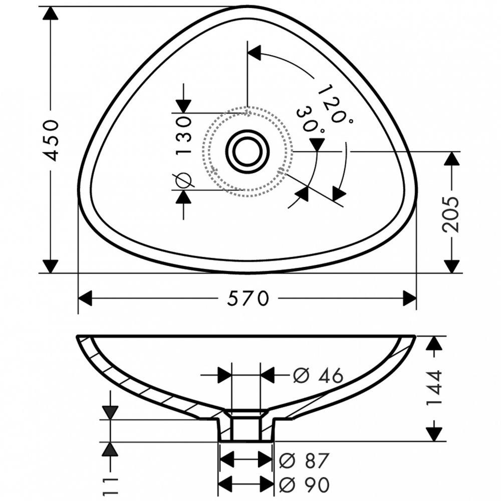 Раковина AXOR Massaud 600 мм белоснежная  42305000