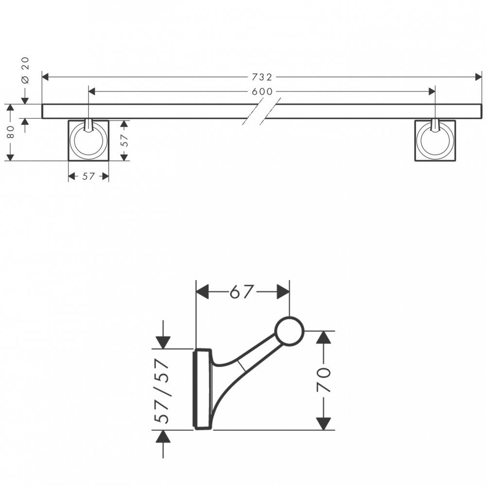 Полотенцедержатель AXOR Starck Organic 600 мм хром  42706000