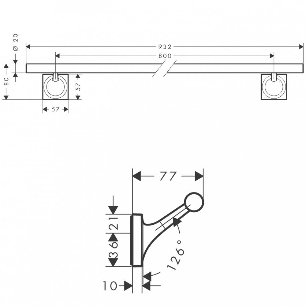 Полотенцедержатель AXOR Starck Organic 800 мм хром  42708000