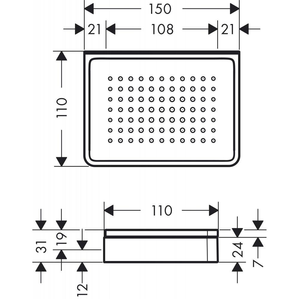 Мыльница AXOR Universal Accessories и полочка шириной 150 мм для настенного монтажа и монтажа на рейлинге хром  42803000