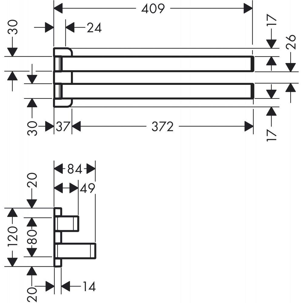 Двойной полотенцедержатель AXOR Universal Accessories наружный размер 409 мм хром  42821000