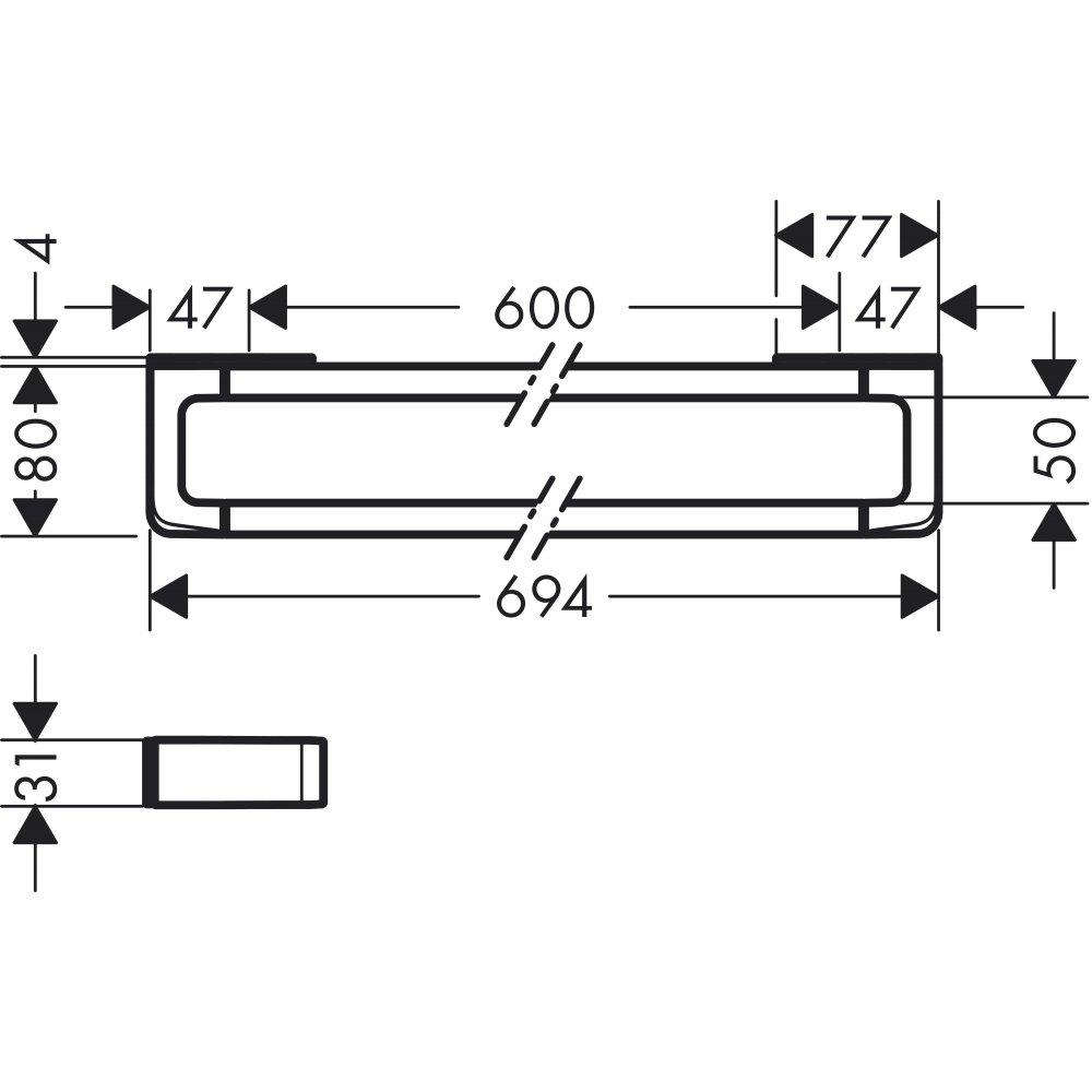 Полотенцедержатель AXOR Universal Accessories и рейлинг наружный размер 694 мм хром  42832000