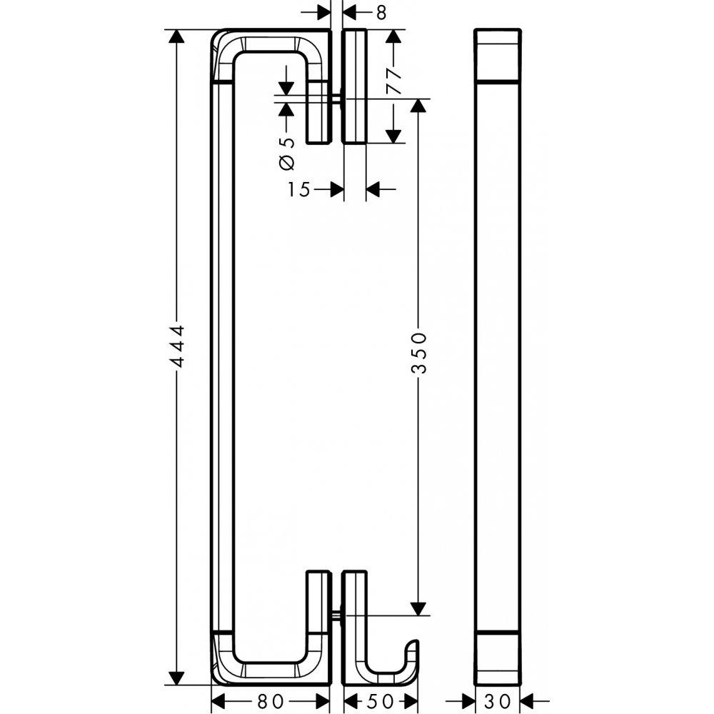 Ручка для двери душевой AXOR Universal Accessories 444 мм хром  42837000