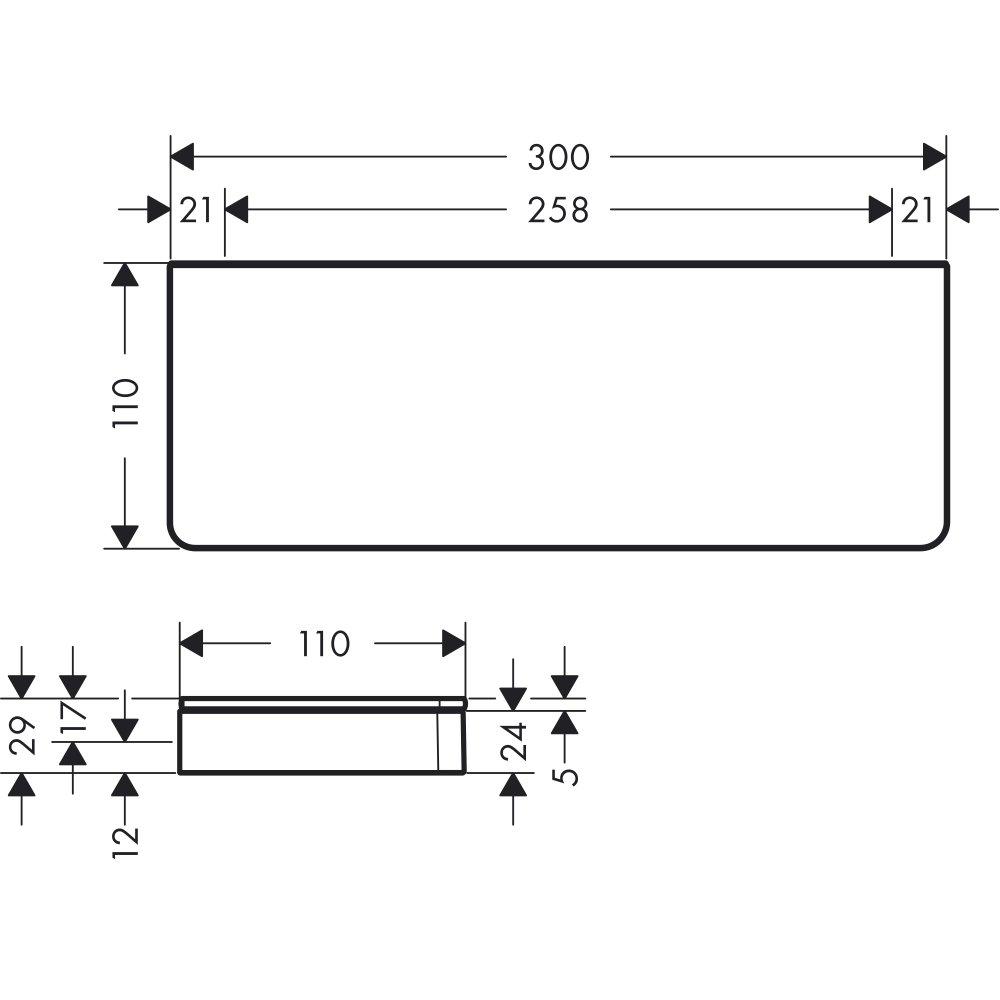 Полочка AXOR Universal Accessories 300 мм для настенного монтажа и монтажа на рейлинге хром  42838000