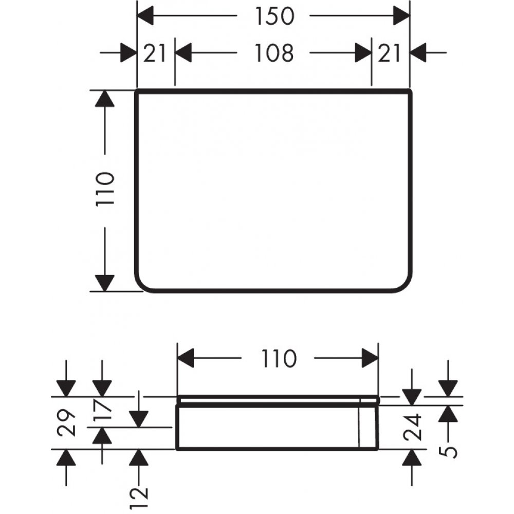 Полочка AXOR Universal Accessories 150 мм хром  42840000