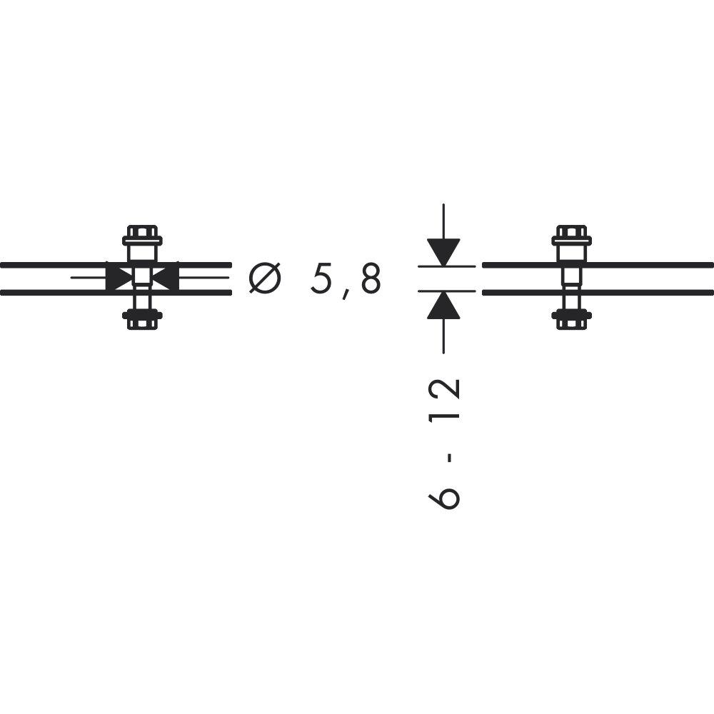 Комплект креплений AXOR Universal Accessories для двустороннего монтажа на стекле хром  42841000