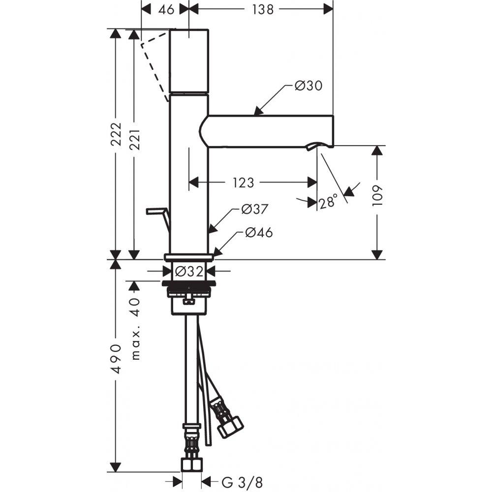 Смеситель AXOR Uno для раковины с высотой излива 110 мм с рукояткой zero со сливным гарнитуром хром  45001000