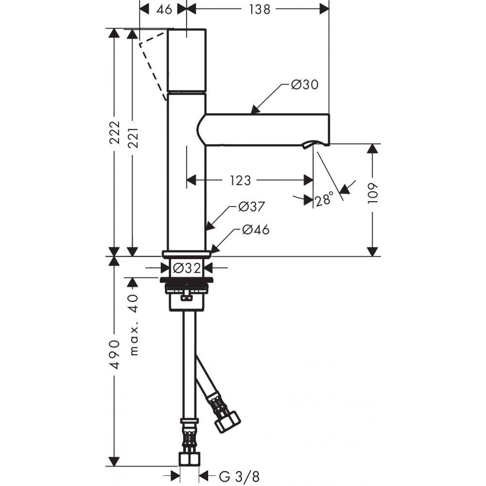 Смеситель AXOR Uno для раковины с высотой излива 110 мм с рукояткой zero с неперекрываемым сливным набором хром  45002000