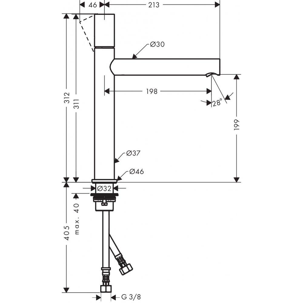 Смеситель AXOR Uno для раковины с высотой излива 200 мм с рукояткой zero с незапираемым сливным набором полированная латунь  45003820